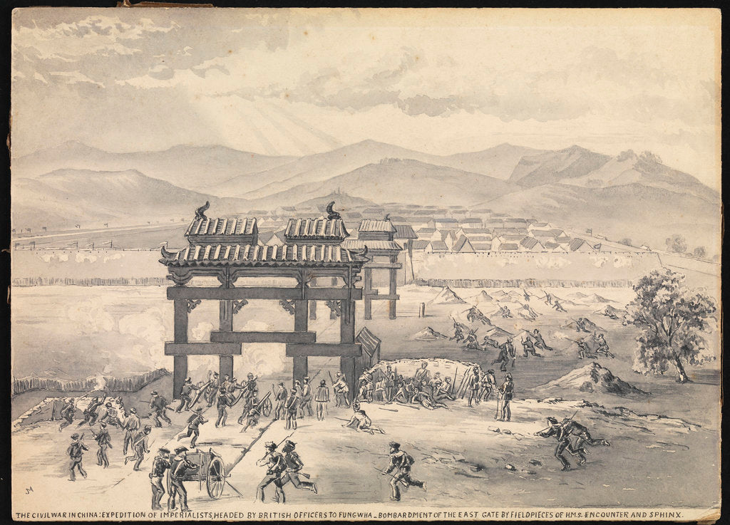 Detail of 7. The Civil War in China: Expedition of Imperialists, headed by British Officers to Fungwha. Bombardment of the East Gate by field pieces of HMS 'Encounter' and 'Sphinx' by MJ