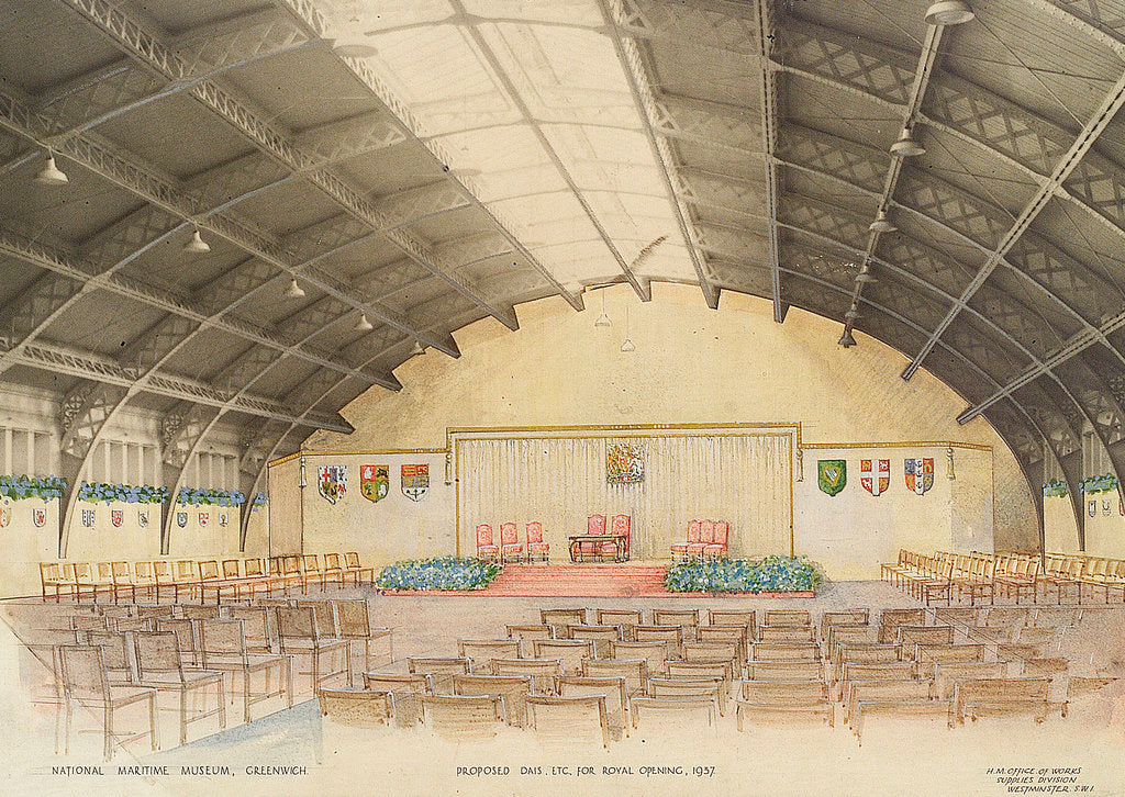 Detail of National Maritime Museum, Greenwich. 'Proposed dais, etc for Royal Opening, 1937 by HM Office of Works