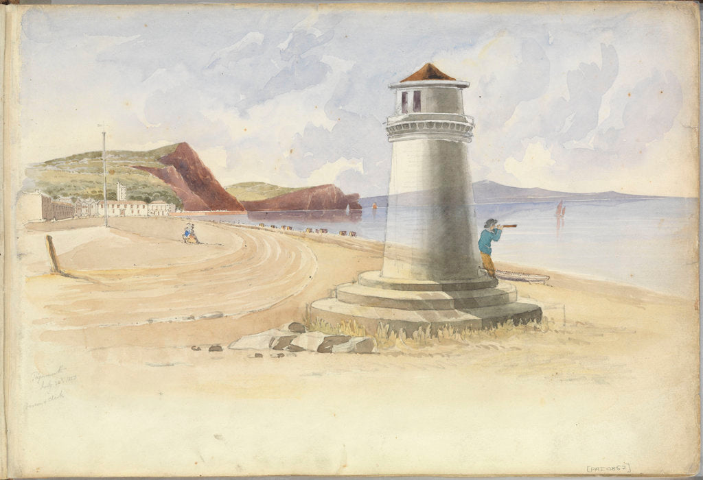 Detail of Scene at Teignmouth, with a figure looking out to sea leaning up against a beacon by George Pechell Mends