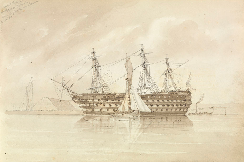 Detail of HMS 'Trafalgar' off Sheerness, from the 'Shannon', 28 December 1850 by George Pechell Mends
