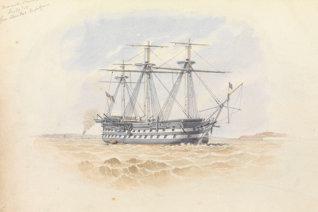 Detail of 'Monarch' at Sheerness from the 'Trafalgar' 29 January 1851 by George Pechell Mends