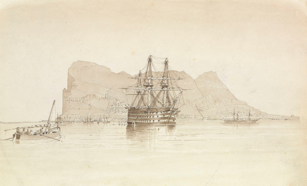 Detail of Gibraltar, with HMS 'Trafalgar' at anchor, a Spanish smuggling boat and the steamer 'Oberon', 26 August 1851 by George Pechell Mends