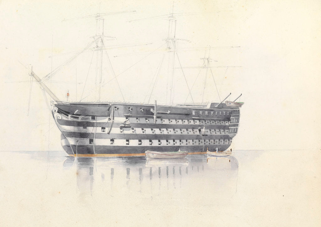 Detail of Study of HMS 'Queen' at Malta, 3 March 1852 by George Pechell Mends