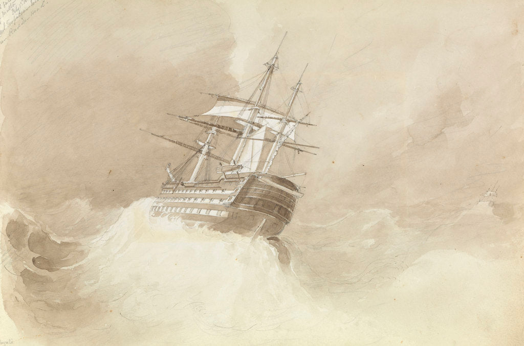 Detail of HMS 'Trafalgar' losing her rudder-head in a north-easterly gale off Malta, 1 February 1852 by George Pechell Mends