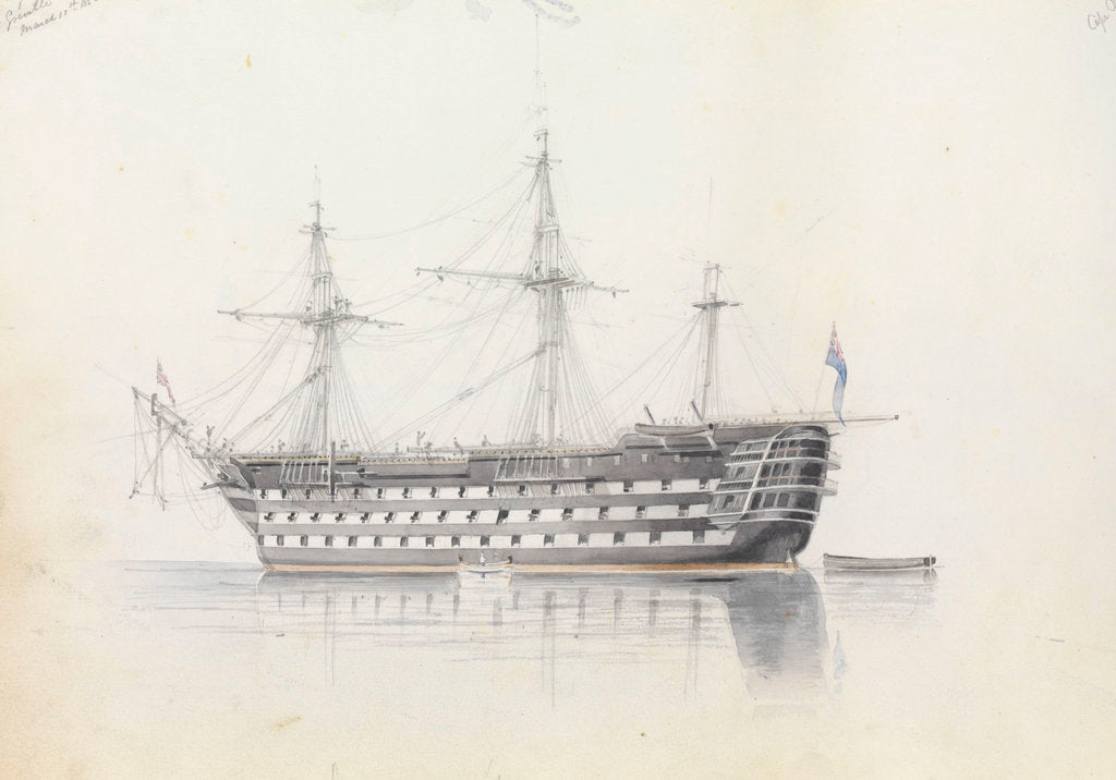 Detail of HMS 'Trafalgar' in Grand Harbour, Malta, 11 March 1852 by George Pechell Mends