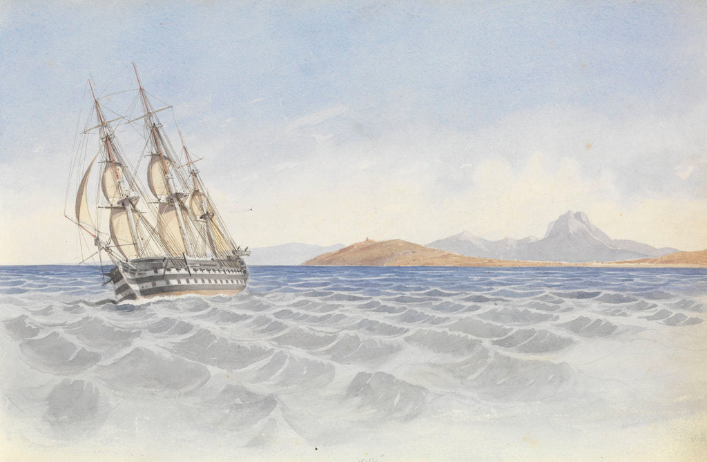 Detail of HMS 'Bellerophon' off Cape Carthage, 26 April 1852 by George Pechell Mends