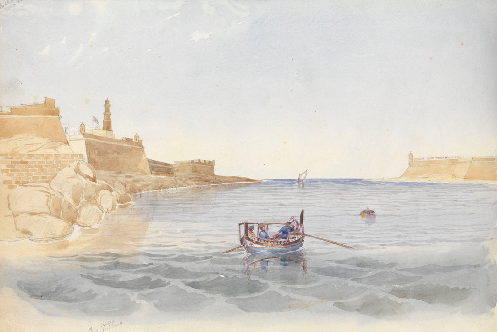 Detail of Fort St Elmo and the entrance to the Grand Harbour, Malta, 20 March 1852 by George Pechell Mends