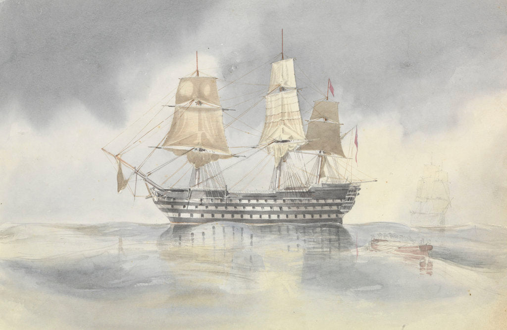 Detail of 'Britannia' hove to in a calm to receive a boat, probably near Cape Carthage, flying the flag of Rear-Admiral Dundas, 27 April 1852 by George Pechell Mends