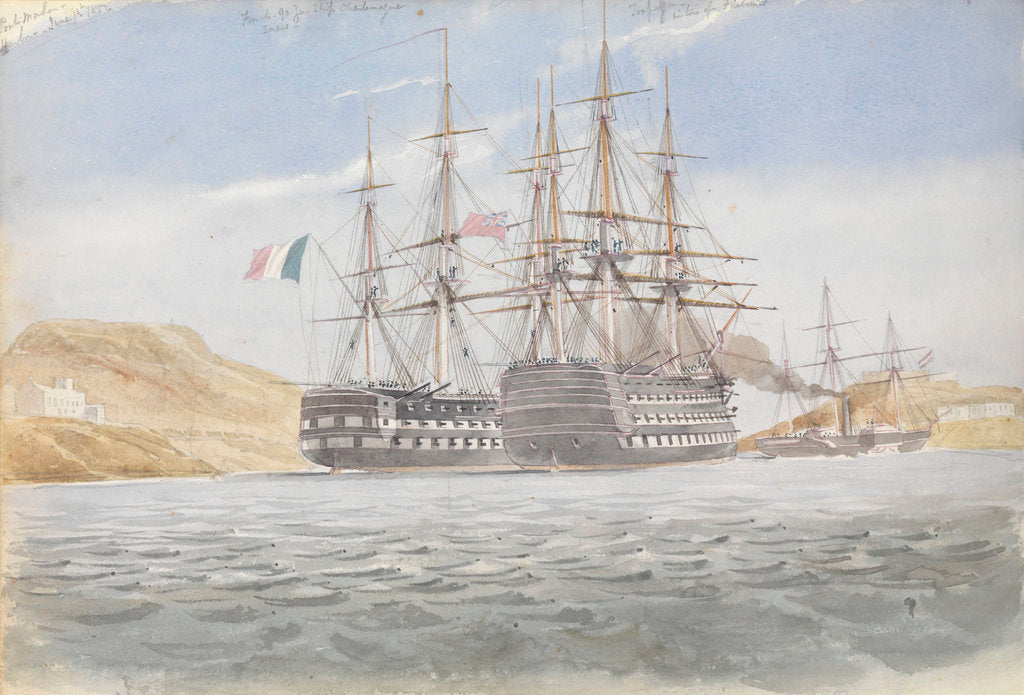 Detail of The 'Charlemagne' with 'Trafalgar' leaving Port Mahon under tow by 'Firebrand', 1 June 1822 by George Pechell Mends