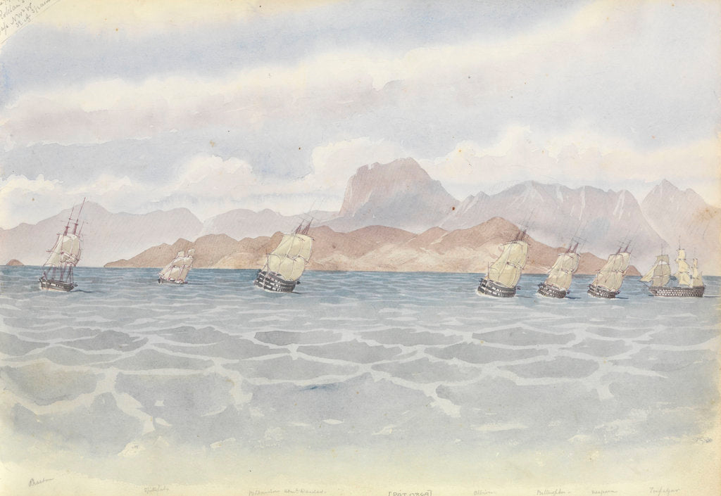Detail of The Mediterranean fleet under Rear-Admiral Dundas off south-east Spain, Roldan's Gap in sight to the north-west, 7 June 1852 by George Pechell Mends