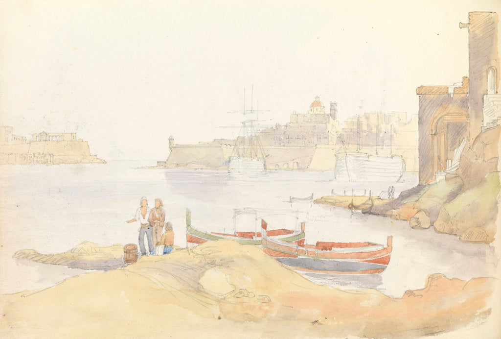 Detail of St Angelo and Dockyard Creek, Malta by George Pechell Mends