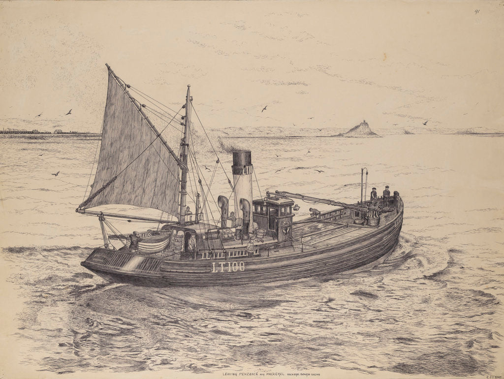 Detail of The 'Formidable' fishing drifter leaving Penzance for mackerel by Edward J. Frost