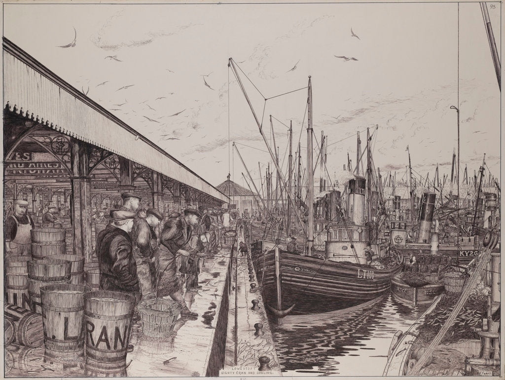 Detail of The 'Formidable' and other vessels unloading fish at Lowestoft by Edward J. Frost