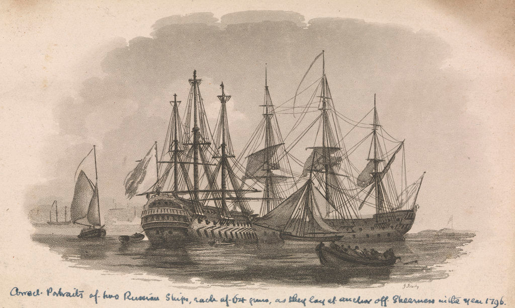 Detail of Portraits of two Russian ships by J. Baily