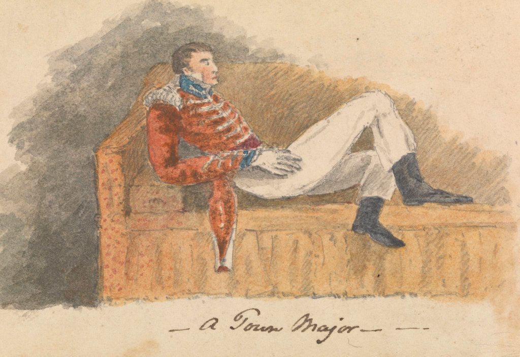 Detail of Soldier in uniform lounging on a sofa by Robert Streatfeild