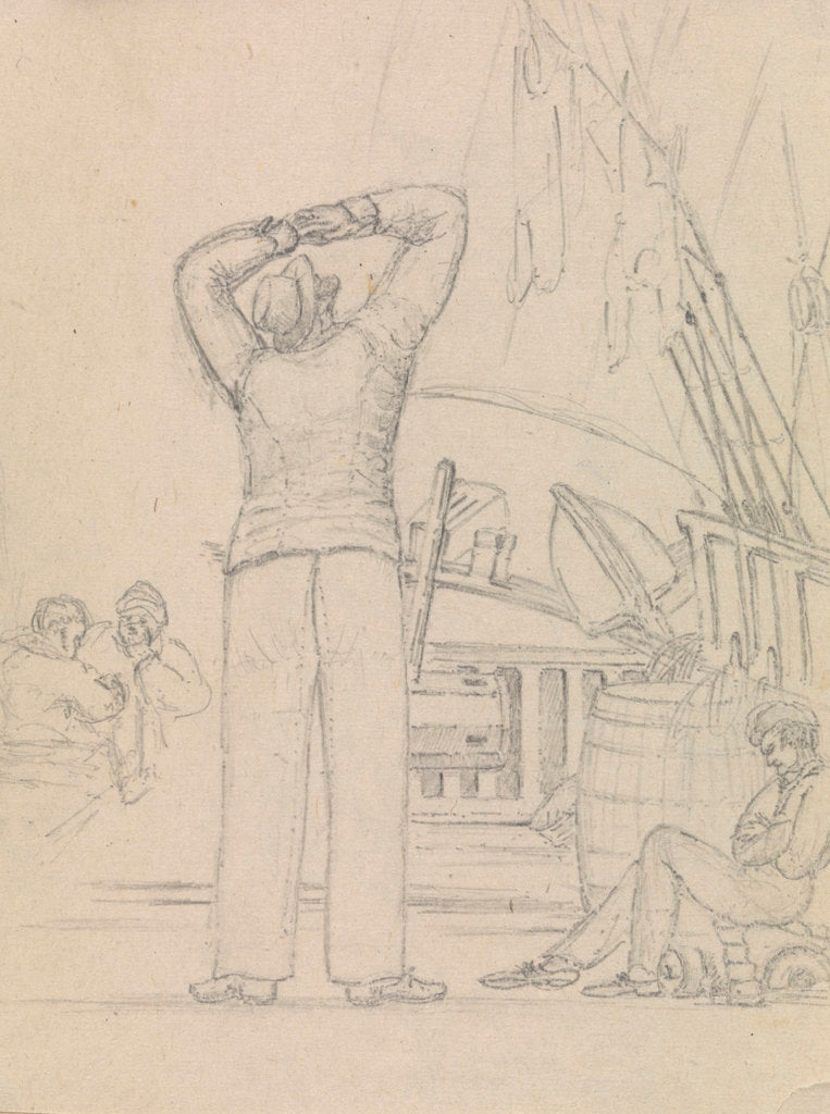 Detail of Deck scene with men relaxing and another looking up to the rigging by Robert Streatfeild