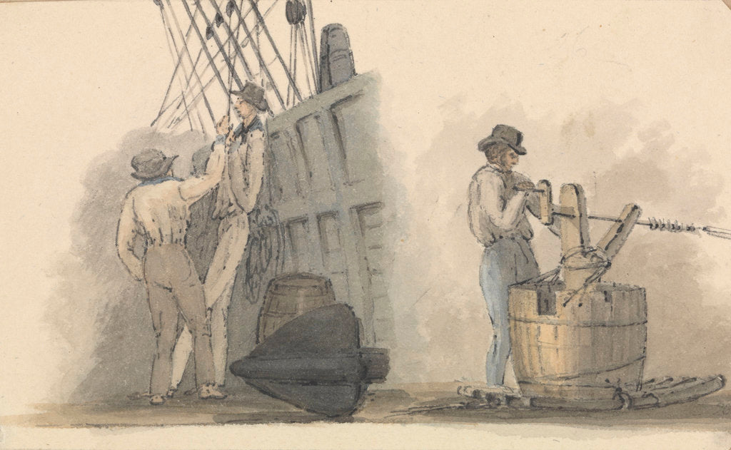 Detail of Two deck scenes, two men relaxing on deck, and a man working a winding handle fixed on a barrel by Robert Streatfeild