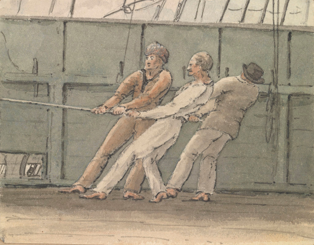 Detail of Deck scene with three men hauling on a rope by Robert Streatfeild