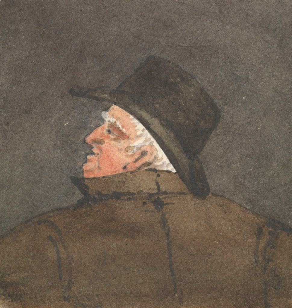 Detail of Man wearing a hat, seen from behind with him looking to the left by Robert Streatfeild
