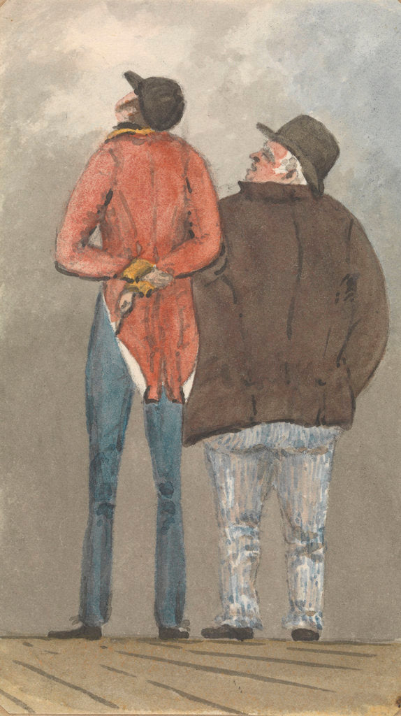 Detail of Two figures, one tall and thin, the other shorter and plump, seen from behind by Robert Streatfeild