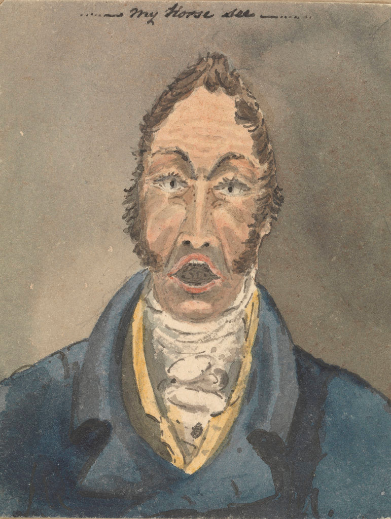 Detail of Head and shoulders of a man in blue jacket and white cravat by Robert Streatfeild