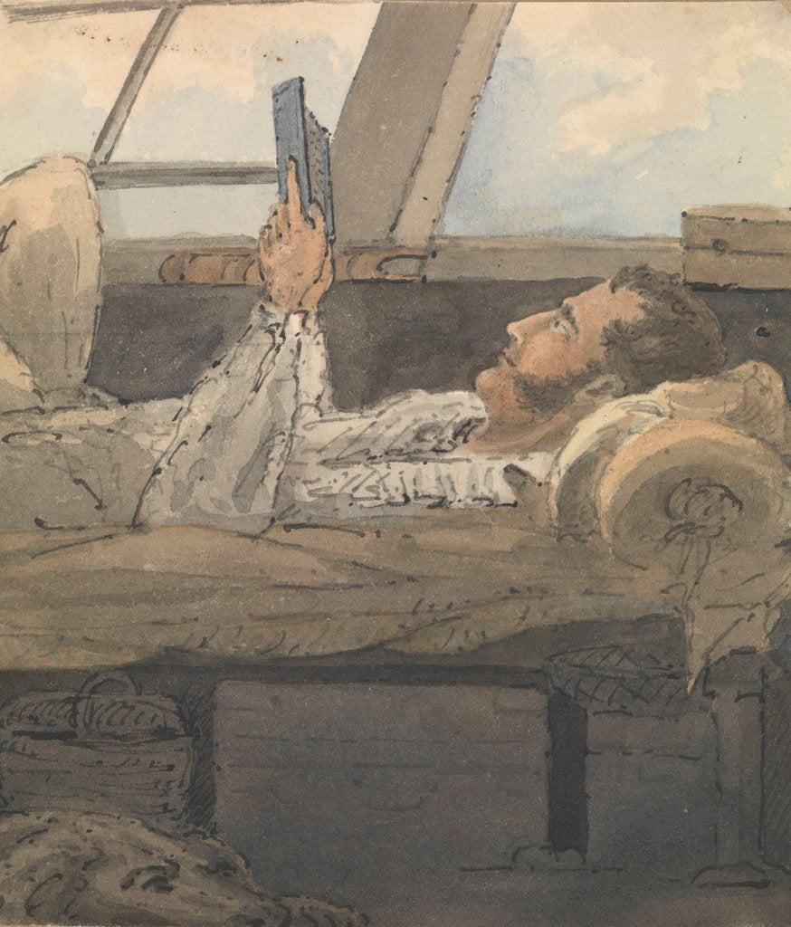 Detail of Cabin scene with man lying down reading a book by Robert Streatfeild