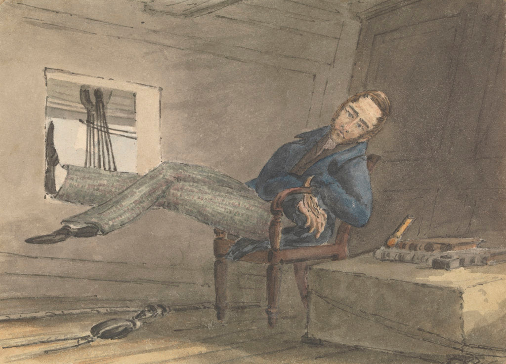 Detail of Cabin scene, man relaxing in a chair, with his feet up by Robert Streatfeild