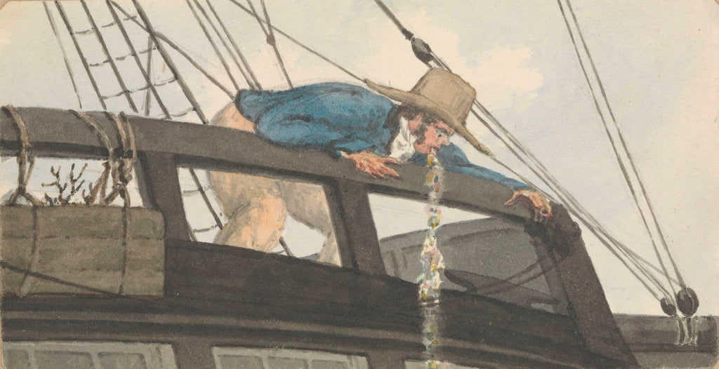 Detail of Deck scene, man being seasick over the ship's rail by Robert Streatfeild