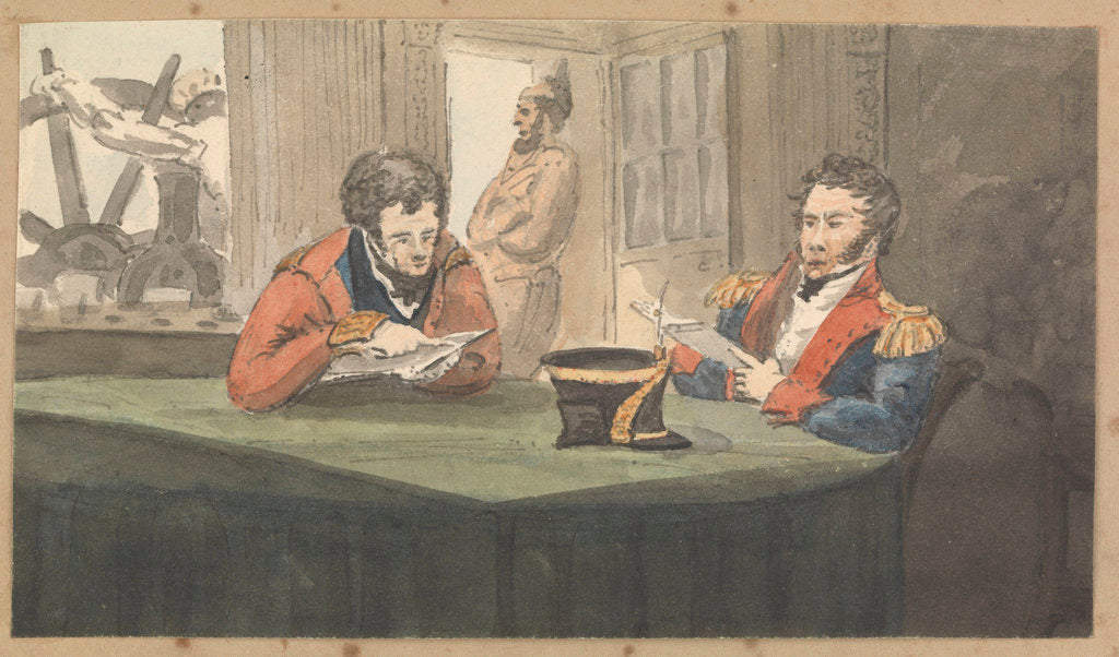 Detail of A cabin scene with two army officers sitting and reading at a table by Robert Streatfeild
