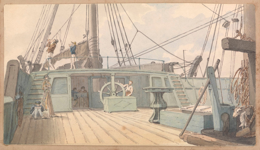 Detail of Deck scene, with man at the wheel, and another two taking sextant readings by Robert Streatfeild