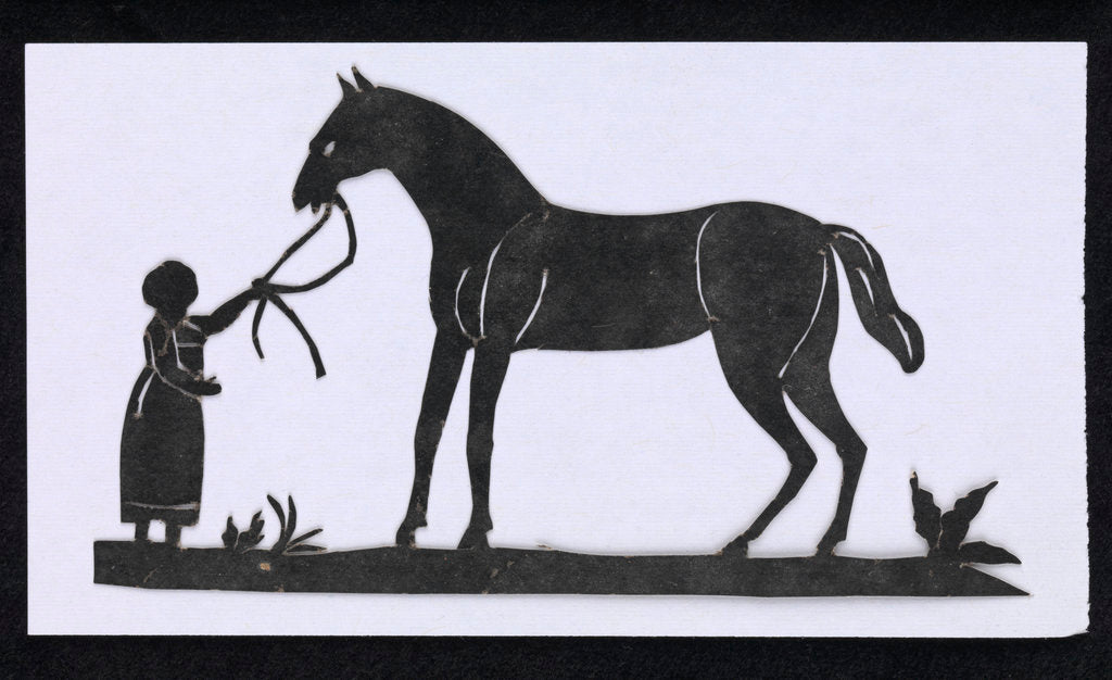 Detail of Silhouette of a woman leading a big horse, cut out and placed on white backround by unknown