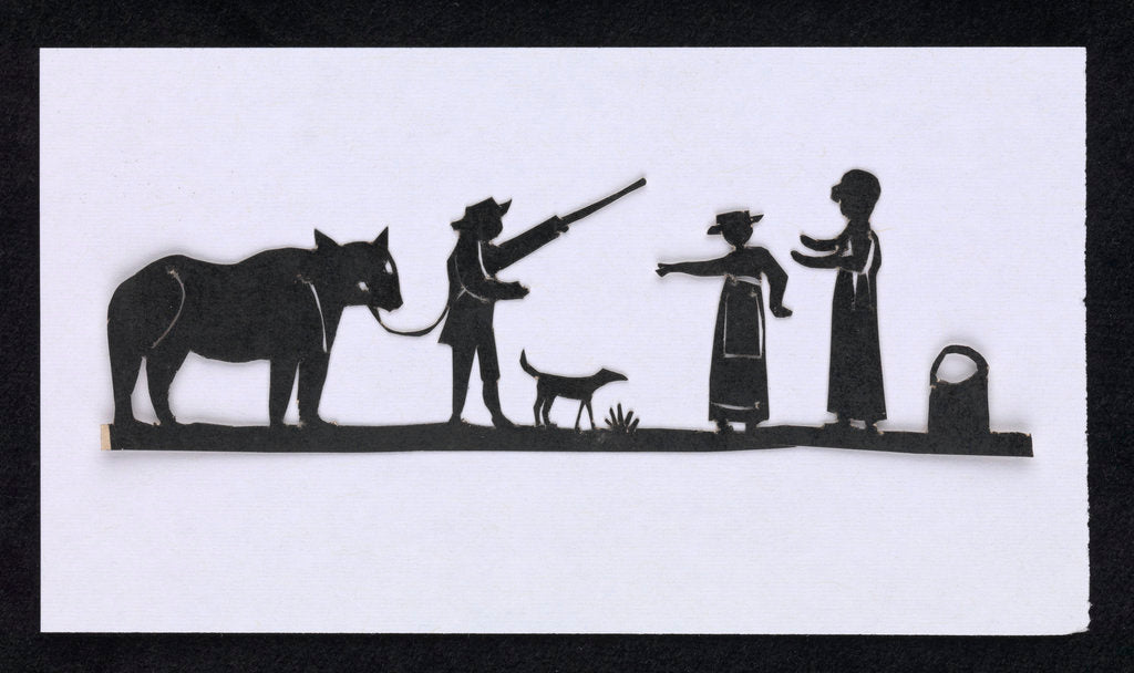 Detail of Silhouette of a man leading a bear with a dog meeting up with two women, cut out and placed on yellow backround by unknown