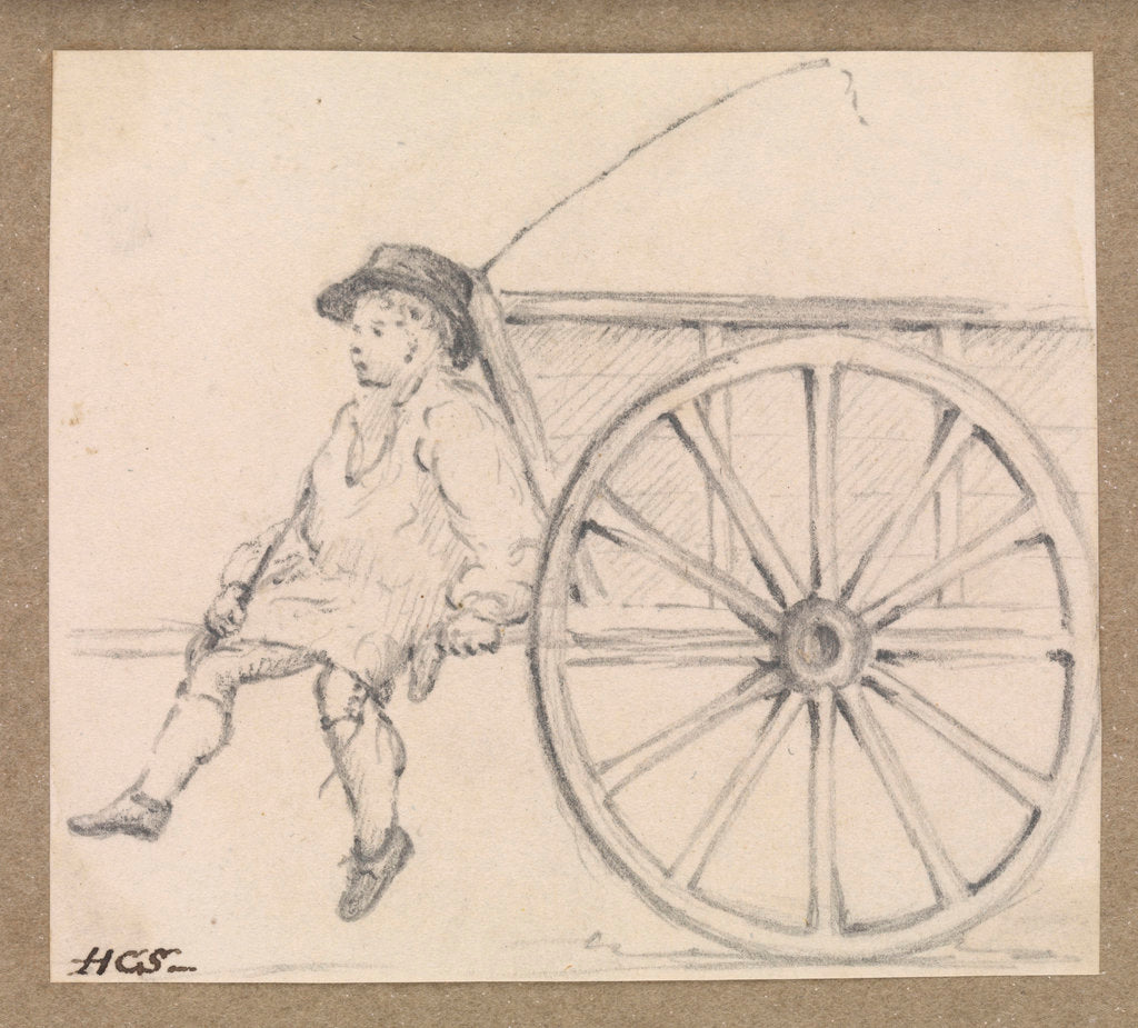 Detail of Small sketch of a farm-hand sitting on a cart by Robert Streatfeild