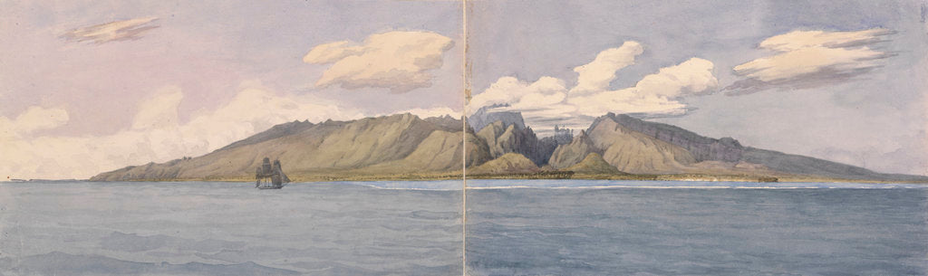 Detail of Tahiti [Society Islands]. The Ravine of Fautaua - Crown or Diademe Mountain in the centre of the Island, and the town of Papeiti, Augt 24th 1849 by Edward Gennys Fanshawe