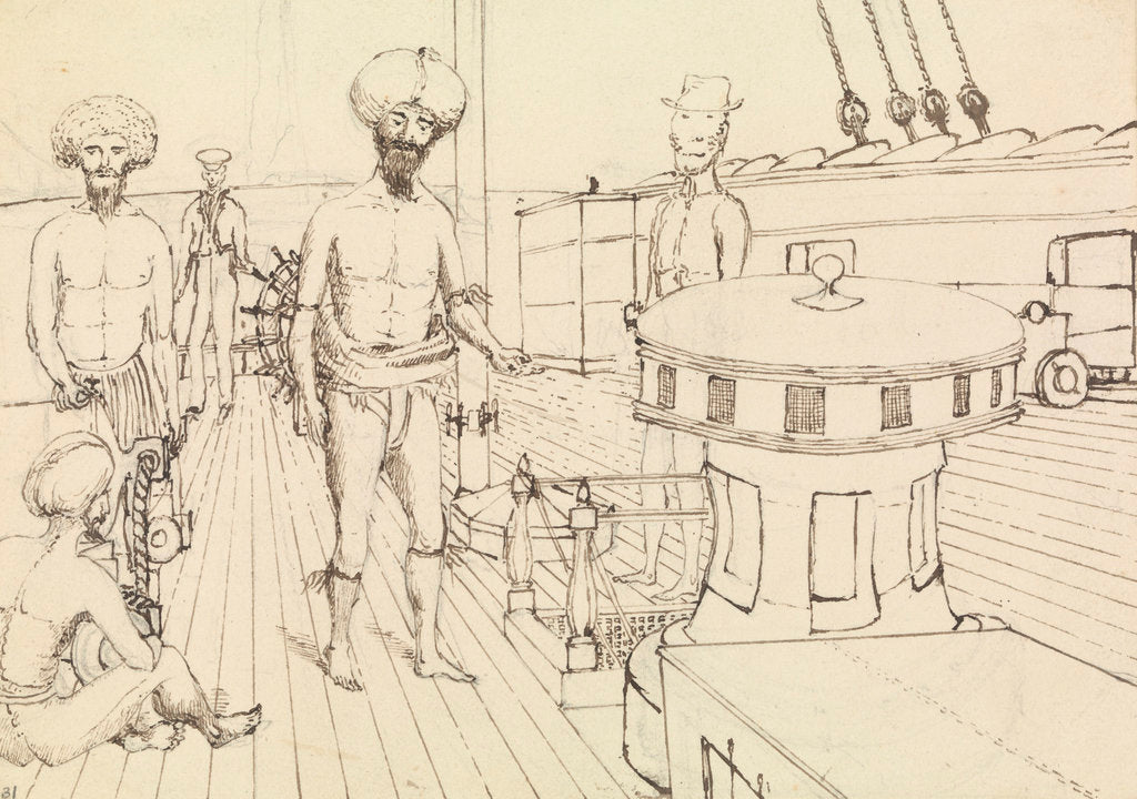 Detail of 'Seru [Seru Epenisa Cakobau (Thakombau)] , on board, and Masomalua (in the hat), Octr 1849 [Fiji] by Edward Gennys Fanshawe
