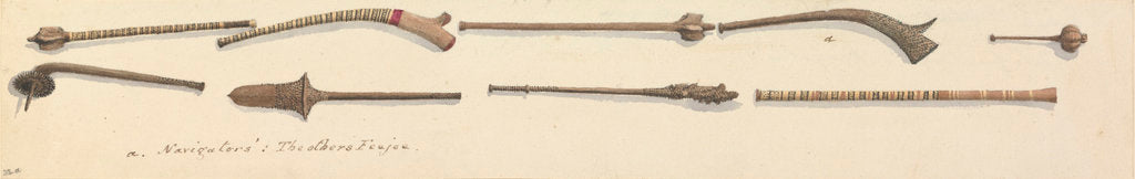 Detail of Clubs from Feejee [Fiji] and Navigators [Islands, (Samoa)] by Edward Gennys Fanshawe
