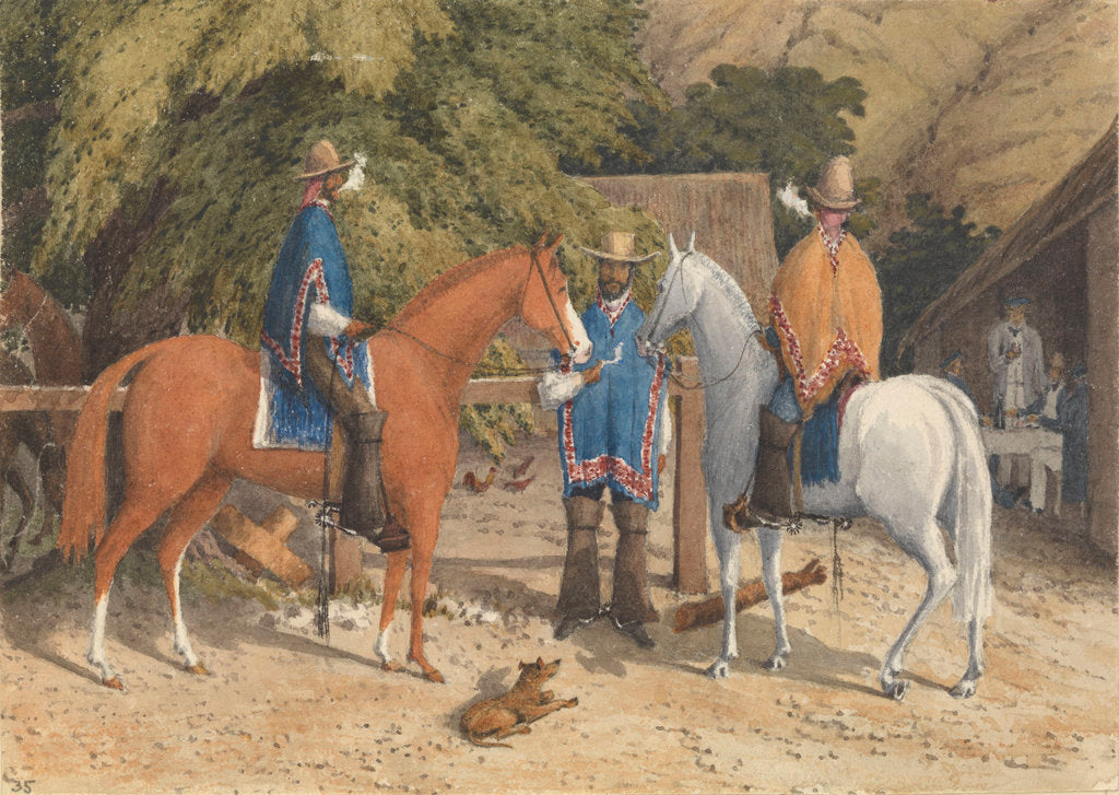 Detail of Rancho at Concon, between Valparaiso and Quillota, Jany 14th 1850 [Chile] by Edward Gennys Fanshawe
