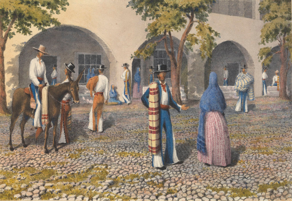 Detail of Mexicans, Plaza at Tepic [Mexico], Augt 19th - 13th 1850 by Edward Gennys Fanshawe