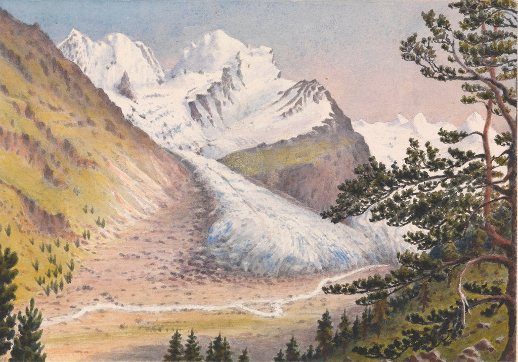 Detail of Piz Bernina, Scerscen, Roseg... Sella & Gluschaint and Tschierva &... Roseg Glaciers from the path leading to Alp Ota, 1880 [Switzerland] by Edward Gennys Fanshawe
