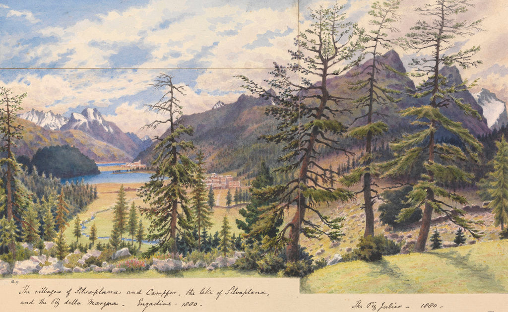 Detail of The villages of Silvaplana and Campfer, the Lake of Silvaplana and the Piz della Margna, Engadine [with] The Piz Julier, 1880 [Switzerland] by Edward Gennys Fanshawe