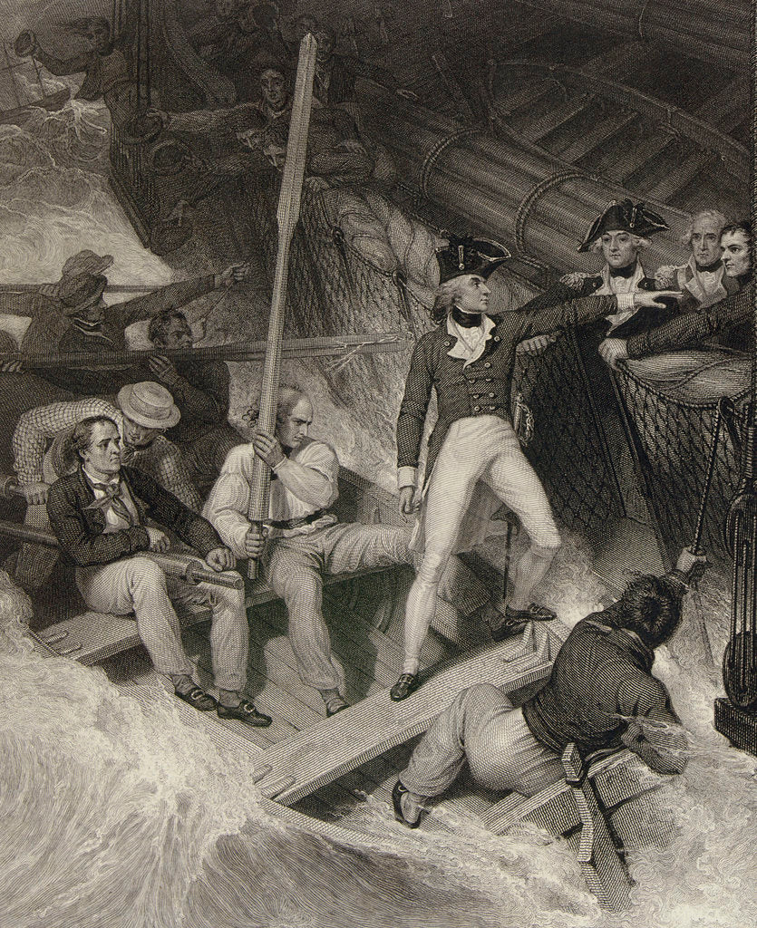 Detail of Lieutenant Nelson volunteering to board a prize in a violent gale, 20 November 1777 by Richard Westall