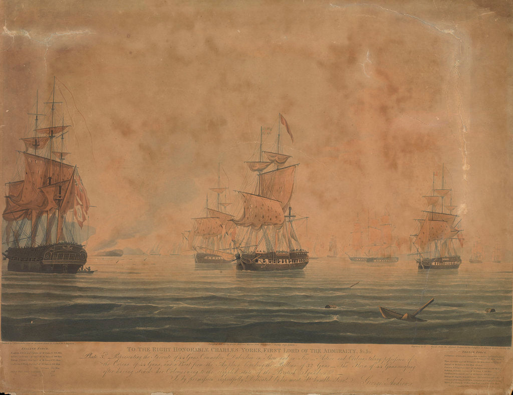Detail of Defeat of the French and Italian squadron, 13 March 1811 by J.L. Few
