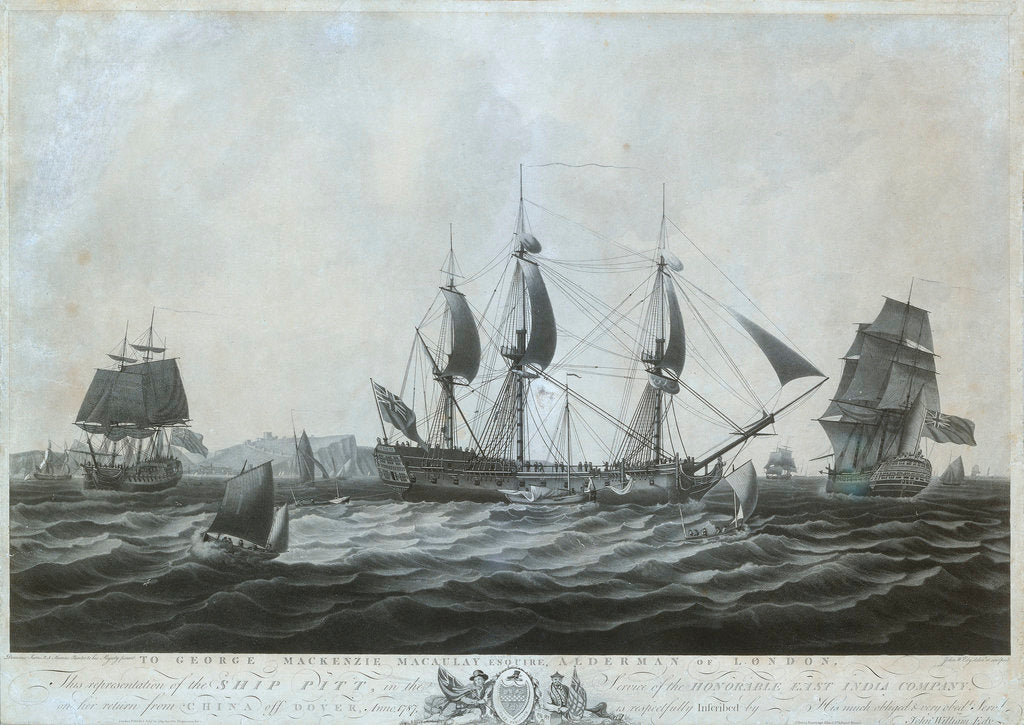 Detail of The 'Pitt' (circa 1787) near Dover returning from China 1787 by Dominic Serres