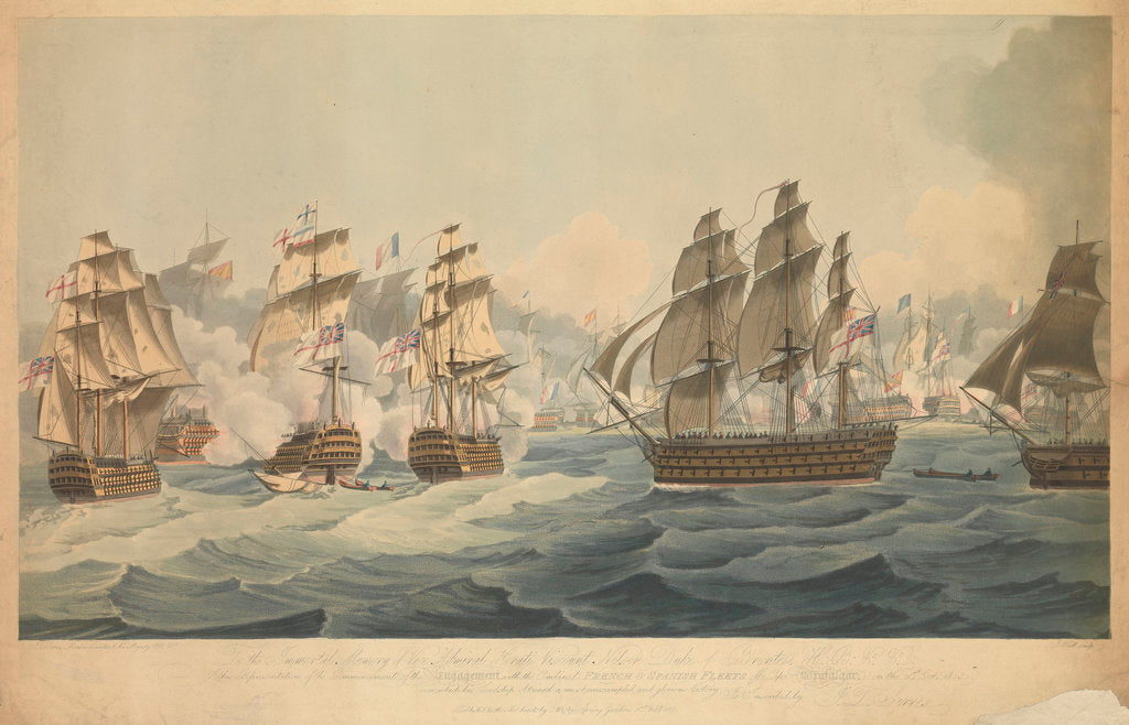 Detail of Engagement with the combined French and Spanish fleets off Cape Trafalgar, on the 21 October 1805 by John Thomas Serres