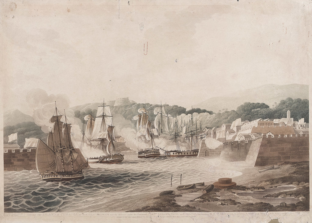 Detail of Taking the Island of Curacoa, by Sir Chas Brisbane and his Officers under his Command, Captns Lydard, Wood and Bolton, Commanding H.M.S's Arethusa, Latona, Anson and Fisguard [Fisgard] Jan 1 1807 by Lydard
