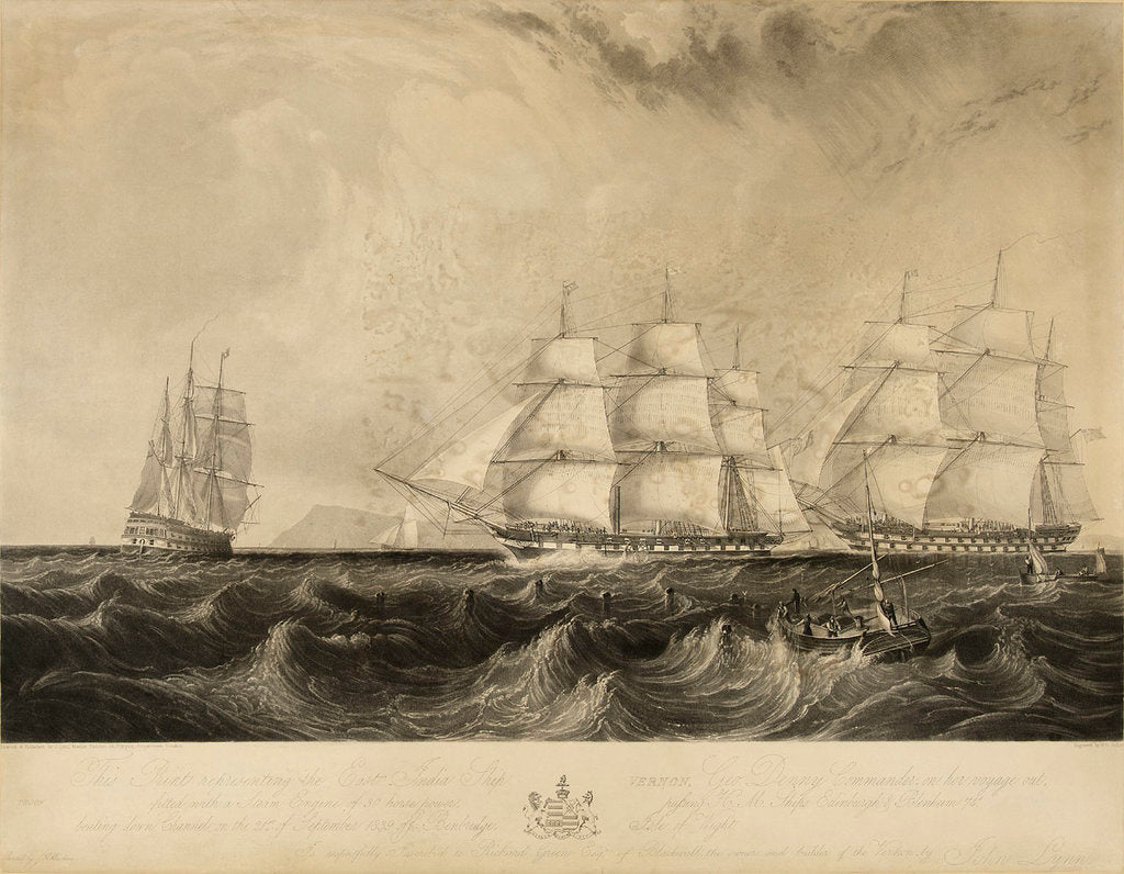 Detail of This print representing the East India Ship 'Vernon', Geo. Denny, Commander, on her voyage out, fitted with a Steam Engine of 30 horse power, passing HM ships Edinburgh & Blenheim 74 beating down Channel on the 21st of September 1839 off Benbridge [sic, i by W. O. Geller