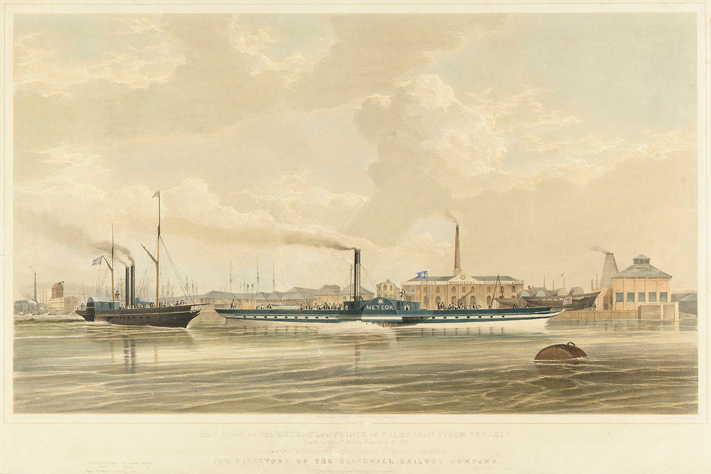 Detail of The iron steamers 'Meteor' and 'Prince of Wales' leaving Brunswick Wharf, Blackwall by S. D. Skillett