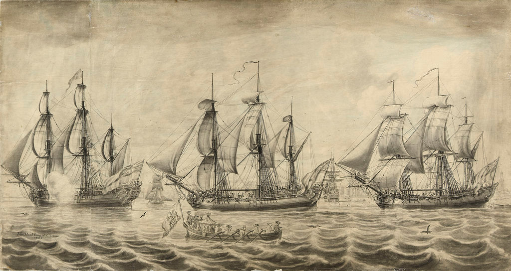 Detail of Three ships of the Hudson's Bay Company off Greenwich by John Hood