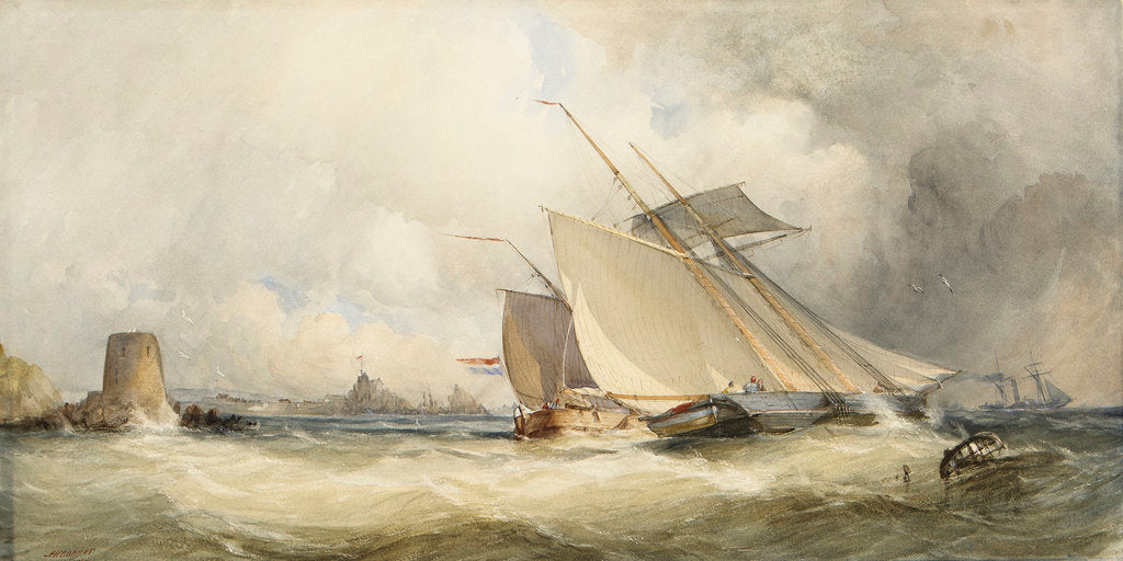 Detail of A schooner and a Dutch vessel close hauled in a fresh breeze in St Helier's Bay, Jersey, 1846 by Alfred Herbert