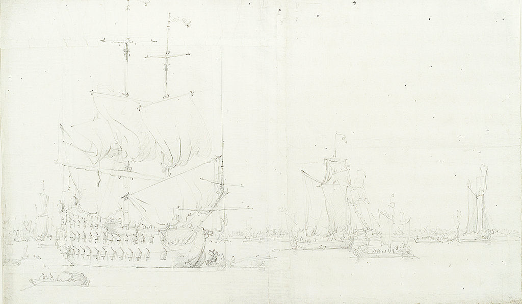 Detail of An English third-rate drying sails and several galliots becalmed off Greenwich by Willem van de Velde the Elder